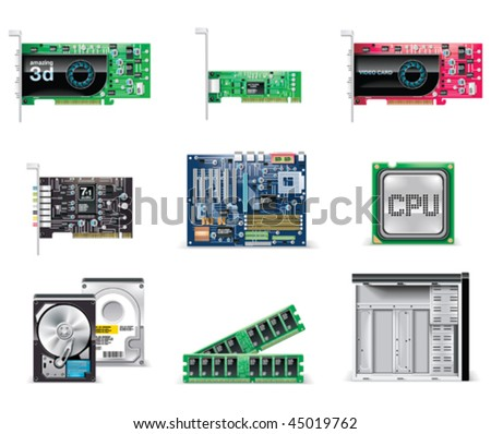 Vector white computer icon set. Part 4. Computer parts - stock vector