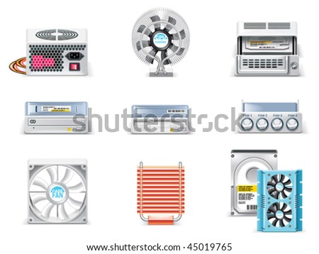 Vector white computer icon set. Part 5. Computer parts - stock vector
