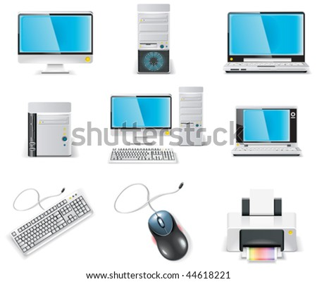 Vector white computer icon set. Part 1. PC - stock vector