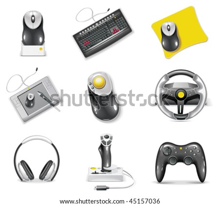 Vector white computer icon set. Part 7. Peripheral - stock vector