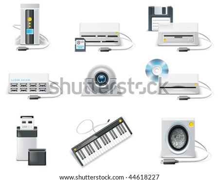 Vector white computer icon set. Part 3. USB devices - stock vector