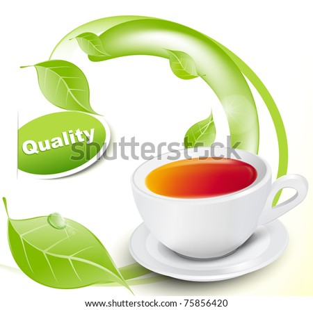 Vector white cup of tea with leaves on white-yellow background - stock vector