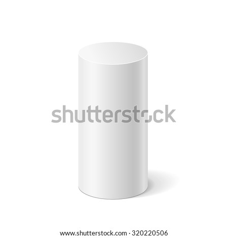 Vector white cylinder isolated on white background. Podium or platform  for advertise various objects. - stock vector