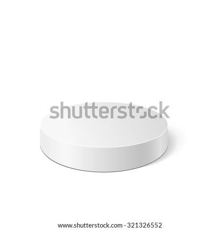 Vector white cylinder isolated on white background. Podium or platform  for advertise various objects. Vector illustration for your design.  - stock vector