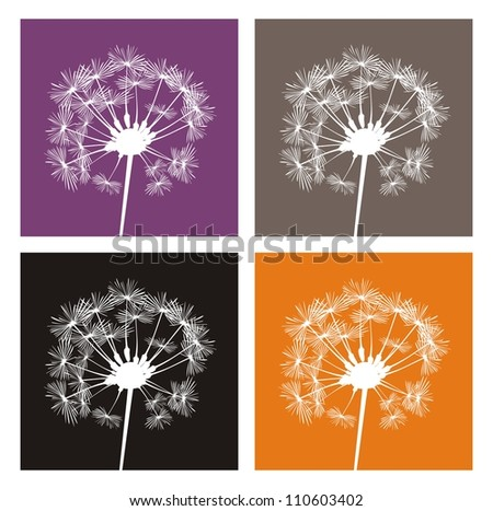 Vector white dandelion silhouette on different, colorful backgrounds. Indian summer or autumn icons, buttons, logo, stickers or other design elements. - stock vector