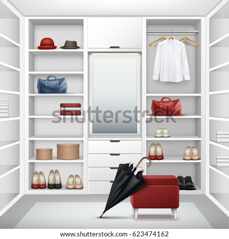 Vector White Empty Cloakroom Closet With Boxes Mirror Red Pouf Shirt Hats