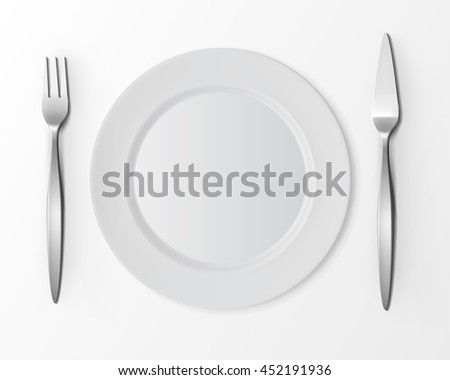 Vector White Empty Flat Round Plate with Fish Fork and Fish Knife Top View Isolated on White Background. Table Setting - stock vector