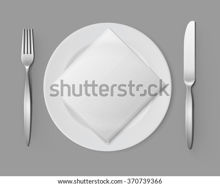 Vector White Empty Flat Round Plate with Silver Fork and Knife and White Folded Square Napkin Top View Isolated on Background. Table Setting - stock vector