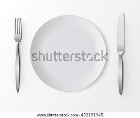 Vector White Empty Round Plate with Fork and Knife Top View Isolated on White Background.  sc 1 st  Shutterstock & Vector White Empty Round Plate Fork Stock Vector 452191945 ...