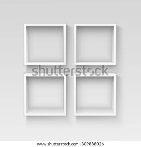Vector White Empty Shelf Shelves Isolated on Wall Background - stock vector