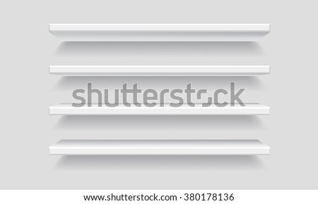 Vector White Empty Shelf Shelves. Isolated Shelf on Wall Background. Display Mock-up - stock vector