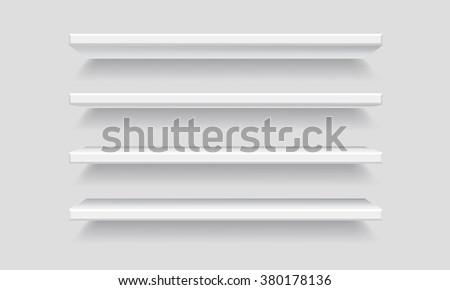 Vector White Empty Shelf Shelves. Isolated Shelf on Wall Background. Display Mock-up - stock vector