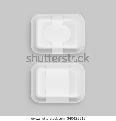 Vector White Fast Food Box Container Packaging Package Packing Pack Isolated on Background - stock vector