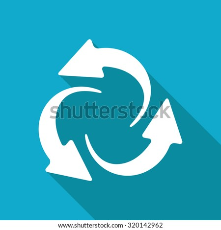 Vector white flat circle round arrows for business, diagram on blue background