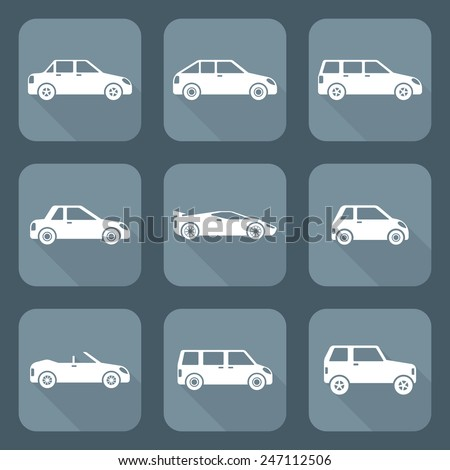 vector white flat design various body types of cars classification icons  set sedan saloon hatchback station wagon coupe cabriolet microcar compact supercar sportcar crossover minivan camper minibus  - stock vector