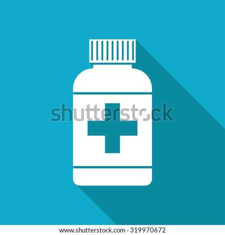 Vector white flat tablet bottle on blue background . Health icon  - stock vector