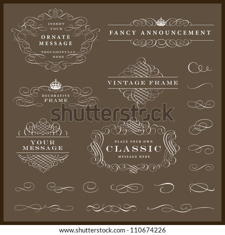 Vector White Frames and Ornaments Set. Easy to edit. Perfect for invitations or announcements. - stock vector