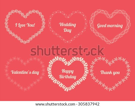 Vector white frames in shape of heart on pink background. - stock vector