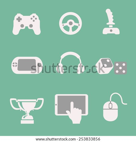 Vector white game icons set white background - stock vector