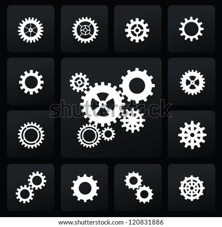vector white gearwheel mechanism icon set on black - stock vector