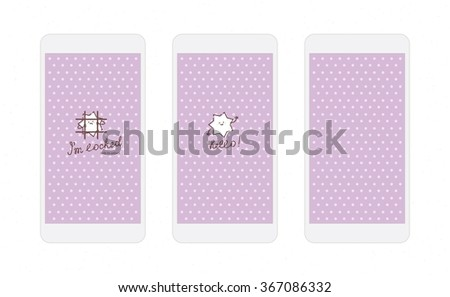 Vector white heart on lilac background screens for mobile phone app with funny star character
