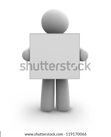Vector white human with blank board. eps8 - stock vector