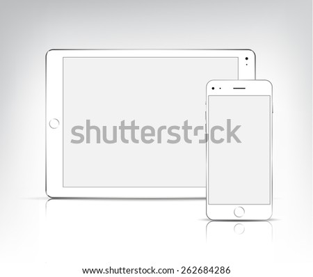 Vector White Ipad Tablet Pc And Iphone Isolated Mock Up