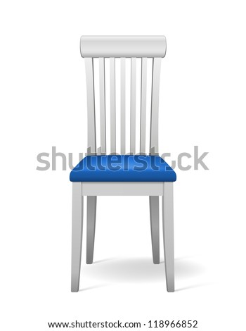 Vector White isolated Chair with blue seat - stock vector