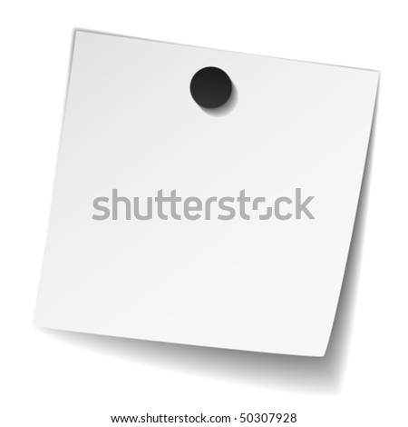 vector white note paper with magnet - stock vector