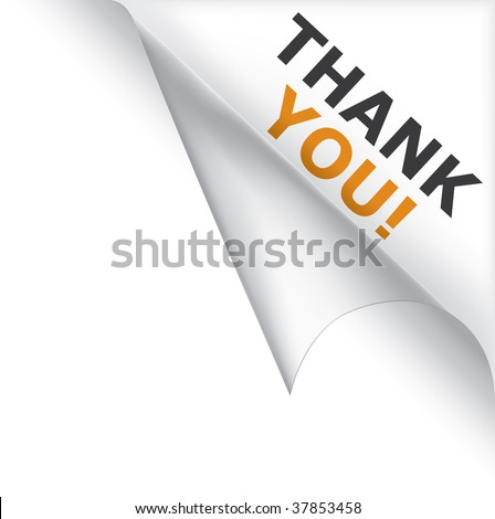 Vector white page curled corner with thank you message - stock vector