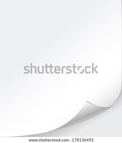 vector white paper background with curled corner - stock vector