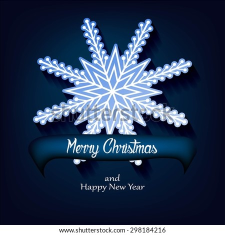 Vector white paper christmas snowflake on a blue background - stock vector