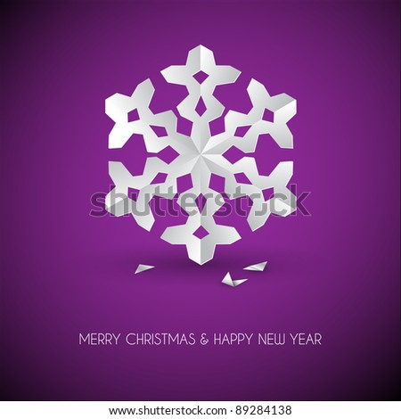 Vector white paper christmas snowflake on a purple background - stock vector