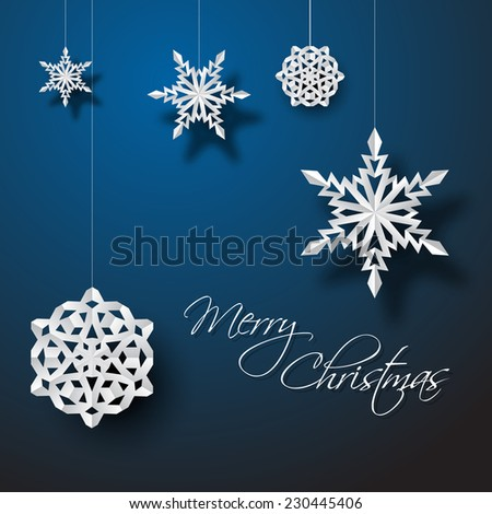 Vector white paper christmas snowflakes on a blue background - stock vector
