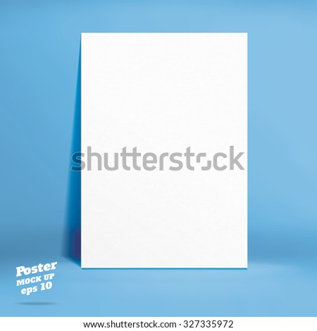 Vector : White paper poster in blue studio room, Template mock up for display of product,Business backdrop - stock vector
