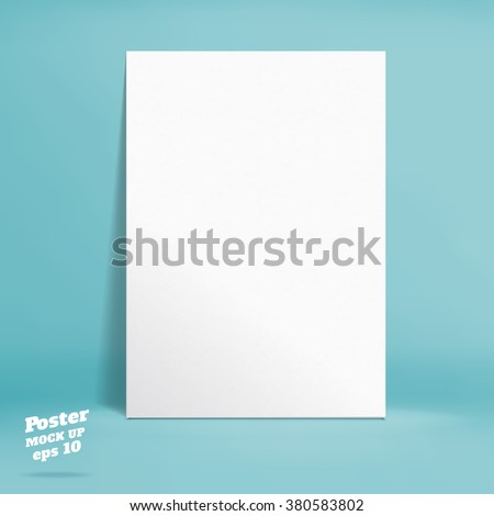 Vector : White paper poster in turquoise studio room, Template mock up for display of product or your content ,Business backdrop - stock vector