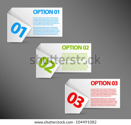 Vector white Paper Progress background / product choice or versions - stock vector