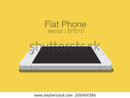 vector white phone  on the plane flat style mockup  - stock vector