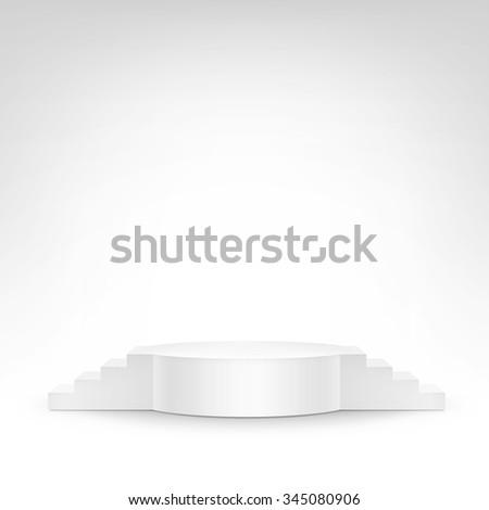Vector White Podium Tribune Stand Isolated on White Background - stock vector
