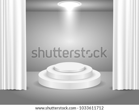 Vector White Podium with curtain on bright background. Empty pedestal for award ceremony.