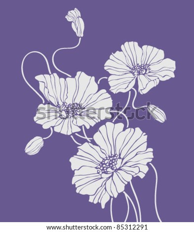 vector white poppies on violet background - stock vector