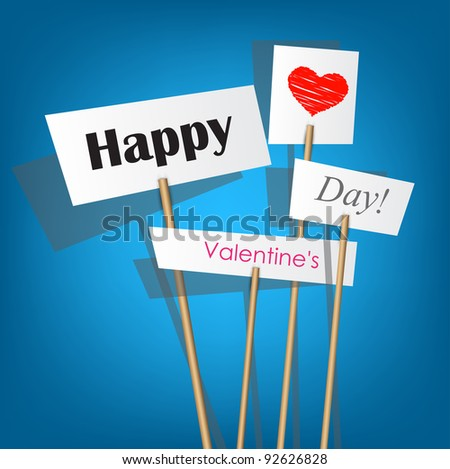 Vector white posters with inscription - Happy Valentine's Day - stock vector