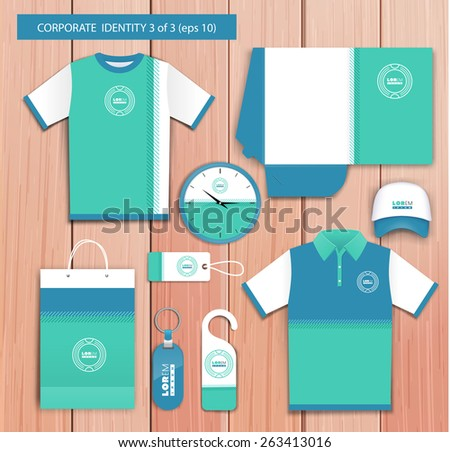 Vector white promotional souvenirs design for company with navy blue, green elements. Elements of stationery. Eps 10 - stock vector