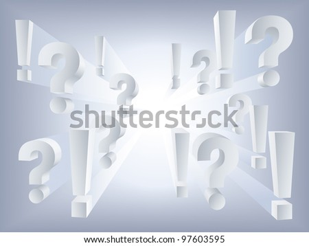 Vector white question and exclamation marks on light background - stock vector
