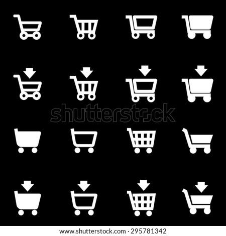 Vector white shopping cart icon set. Shopping Cart Icon Object, Shopping Cart Icon Picture, Shopping Cart Icon Image, Shopping Cart Icon Graphic - stock vector - stock vector