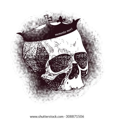 Vector white skull in grunge design style - stock vector