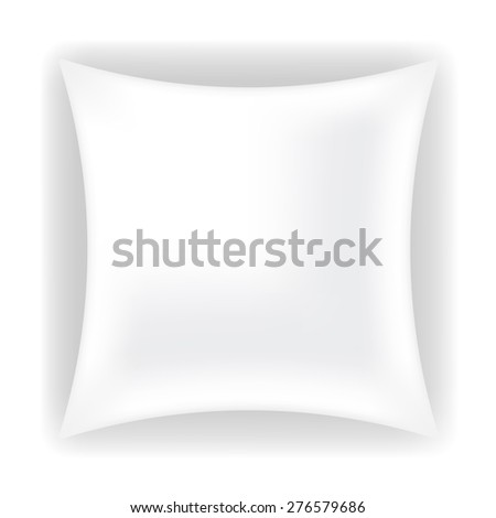 Vector White Soft Pillow for Sleep Isolated on White Background - stock vector