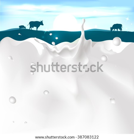 vector white splash milk illustration on dark blue background with cow and sunset - stock vector