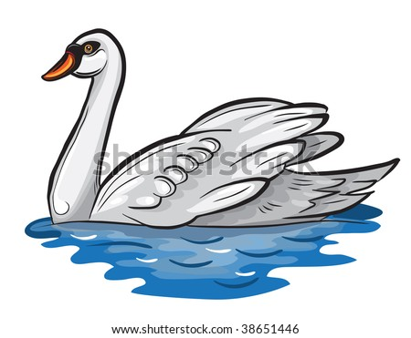 Vector white swan swimming on a pond.