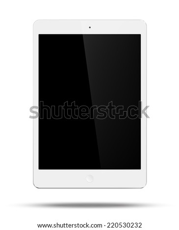 Vector white tablet pc in mini style on white background - stock vector